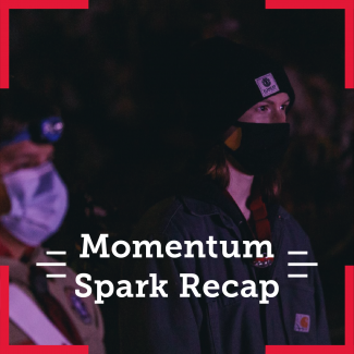 Two Arrowmen deeply focusing on something. The overlying text says Momentum Spark Recap