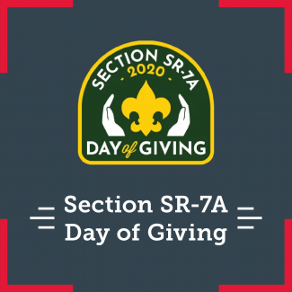 Day of giving logo which is the BSA fleur-de-lis being cupped by two hands. There is also text on the bottom that says  Section SR-7A's Day of Giving