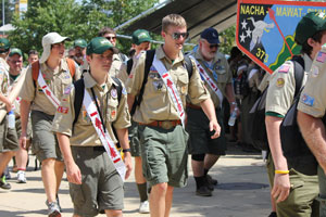 Arrowmen arrive at the 2012 National Order of the Arrow Conference